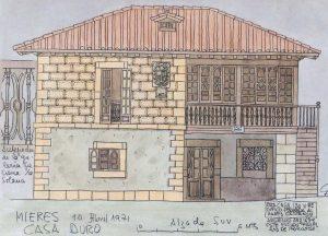 Ilustración de Efrén García Fdez. Casa Duró antes de la rehabilitación