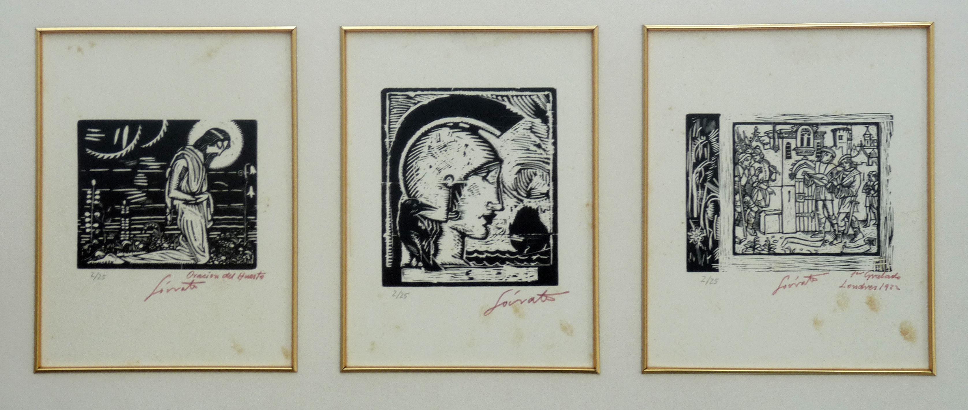 Oración del huerto, Londres 1922 | Sócrates Quintana (Xilografía, tríptico 0,60x0,32)
