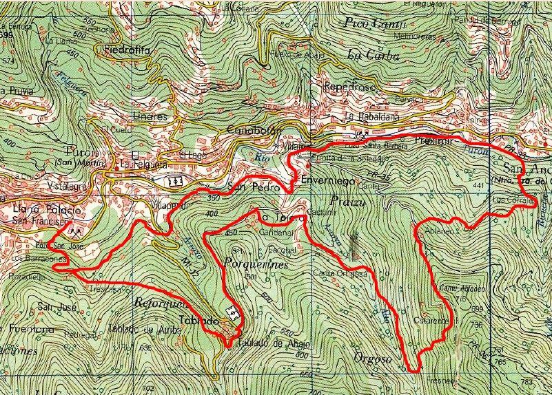 Mapa de la ruta Castañir P.R. AS-188.