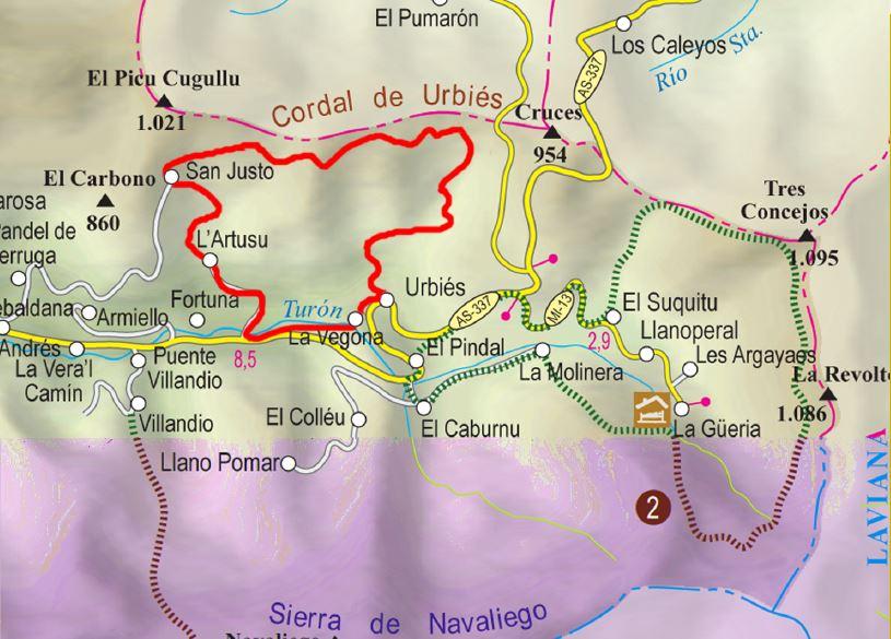 Mapa de la ruta Cordal de Urbiés P.R AS-34.