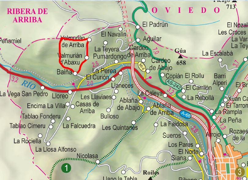 Mapa de la ruta Sierra de Llagos S.L. AS-1.