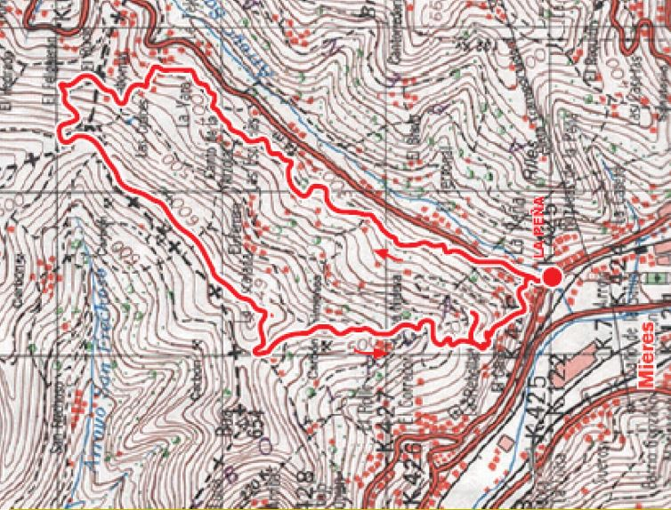 Mapa de la ruta Valle Miñera P.R AS-193.