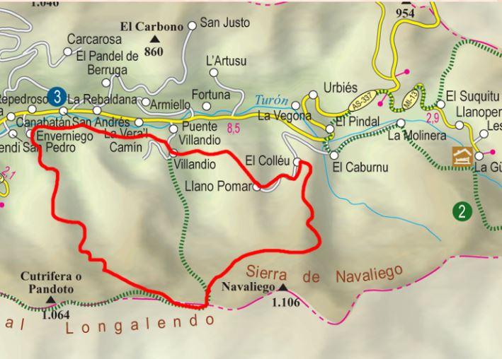 Mapa de la ruta senda de los caserios y brañas turonesas P.R. AS-35
