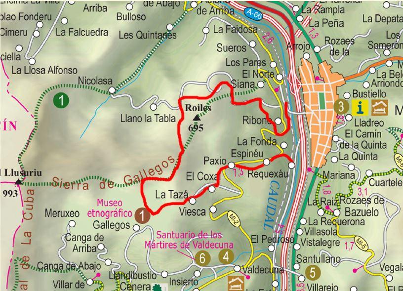 Mapa ruta del Llosoriu P.R AS-38