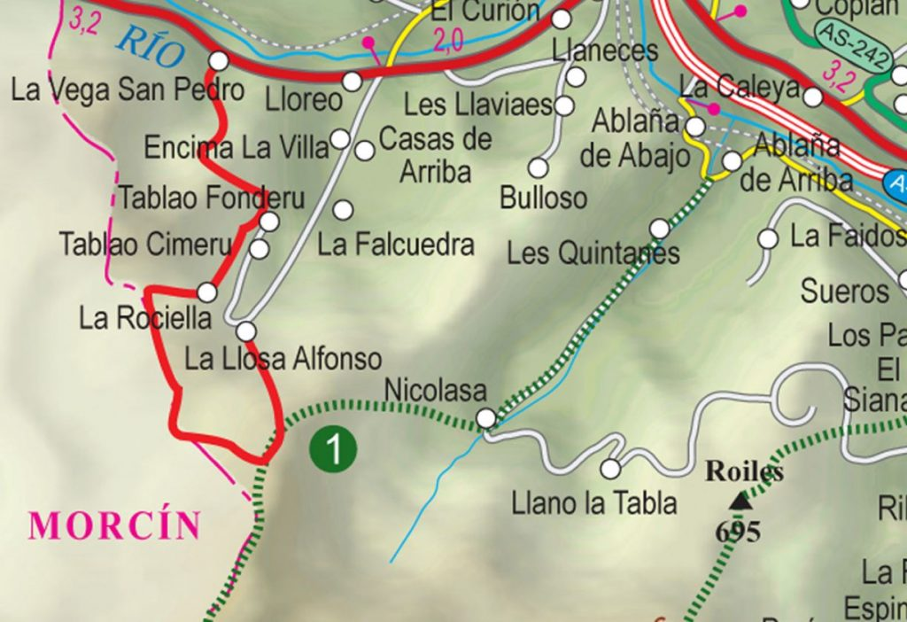 Mapa ruta senda valle lloreo P.R. AS-36