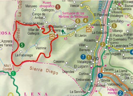 Mapa ruta sendero del Val.le Cuna P.R AS-39.