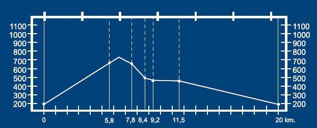 Altimetría del circuito Monte Teyerona BTT MI-6.