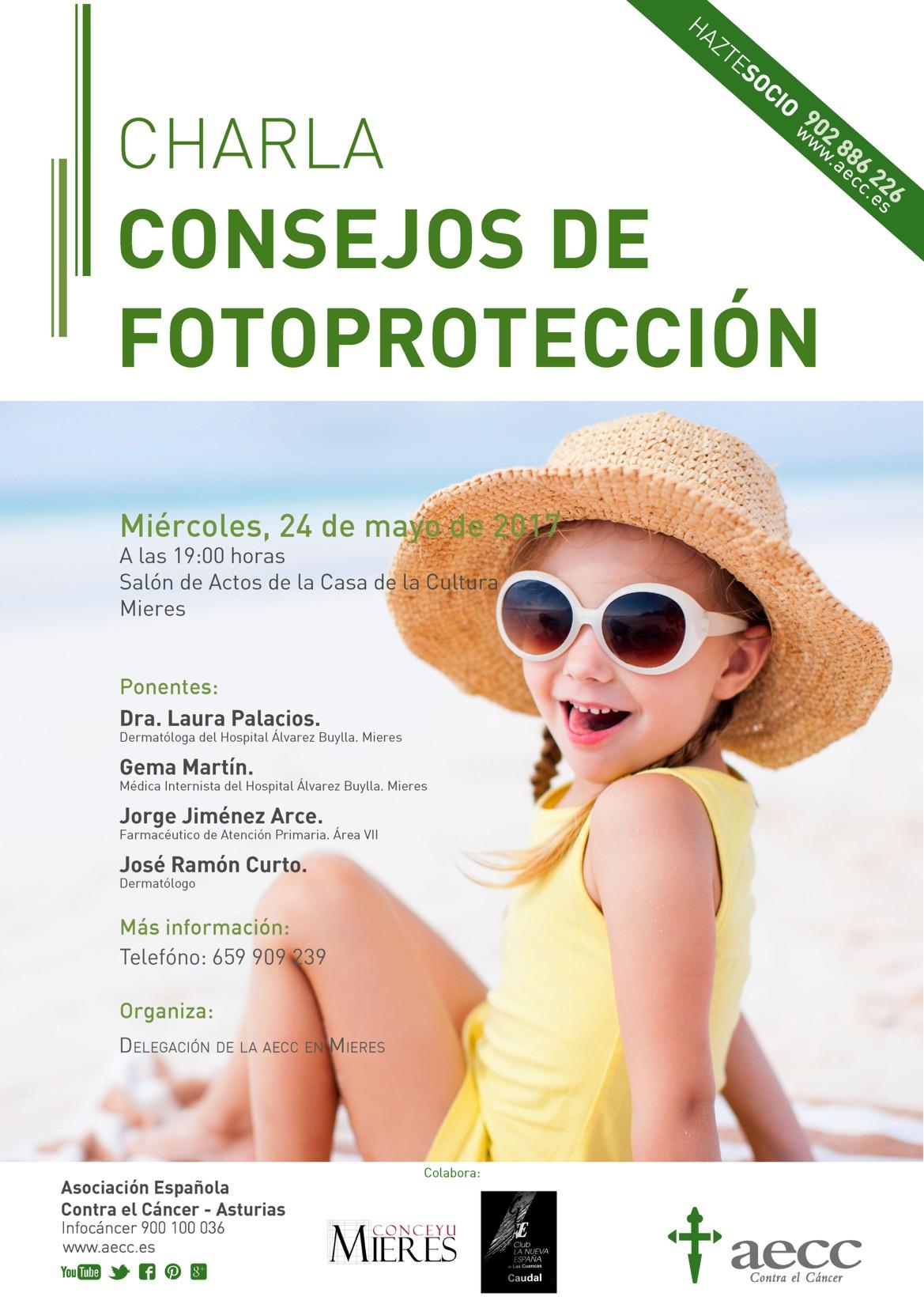 Cartel web charla AECC Consejos de Fotoprotección