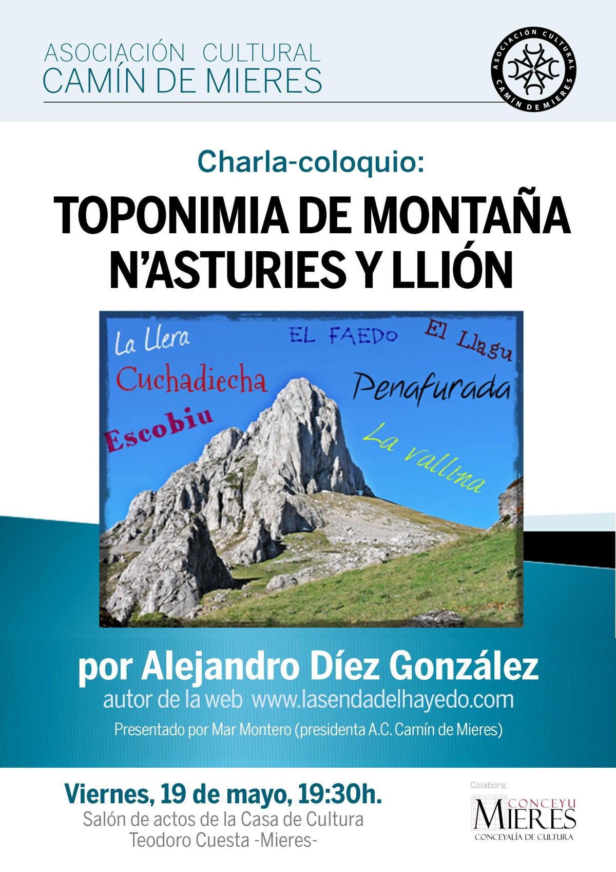 Cartel web charla Toponimia de Montaña-Asociacion Camin de Mieres