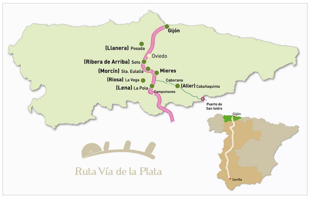Mapa de la Ruta Vía de la Plata a su paso por Asturias.