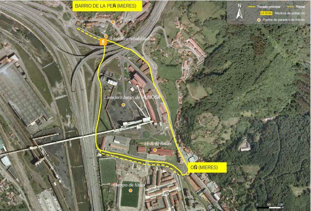 Mapa de la ruta de la Peña.