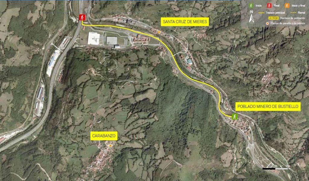 Mapa de la senda verde Bustiello - Sovilla.