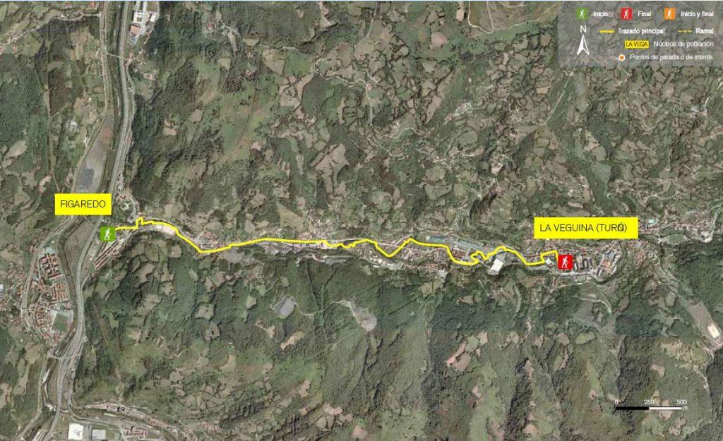 Mapa de la senda verde de Figareo - La Veguina
