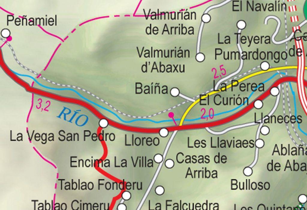 Mapa de la senda verde de Lloreo