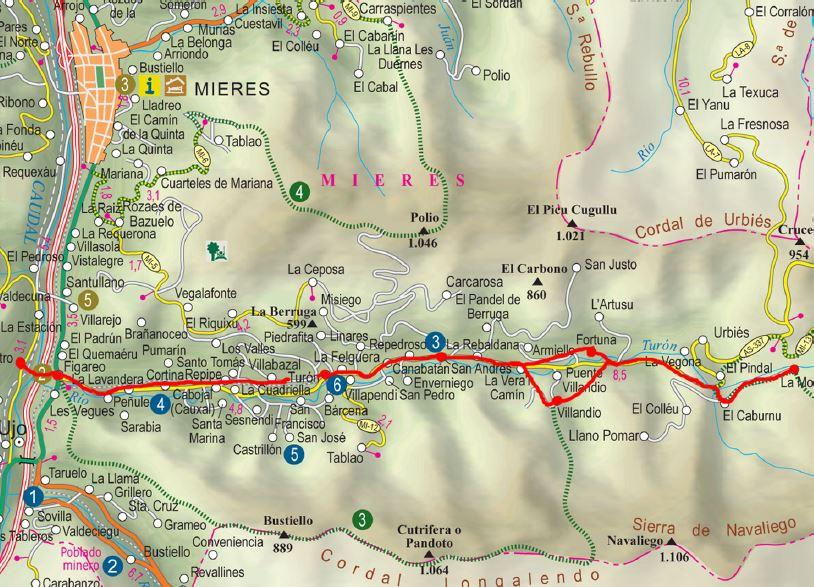 Mapa de la senda verde de Turón P.R AS-100.1