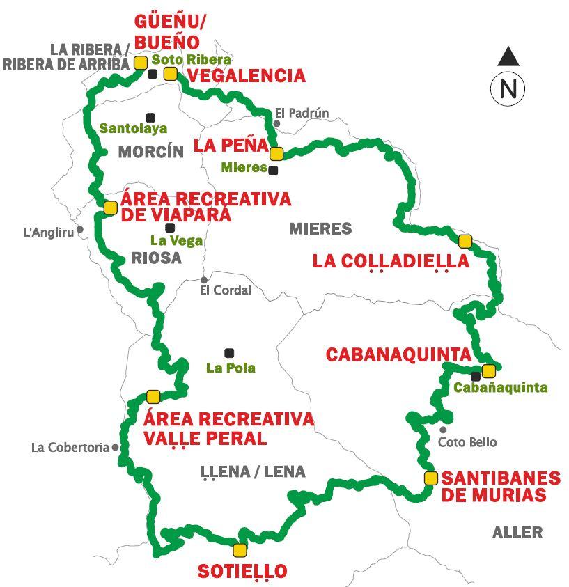 Mapa del Anillo ciclista de la Montaña Central GR-208.