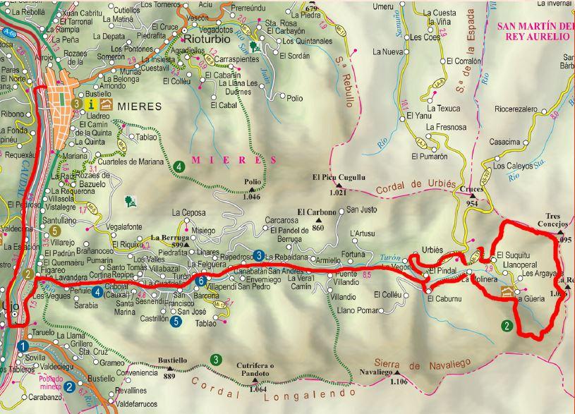 Mapa del circuito Sierra de Navaliego BTT-MI-5.