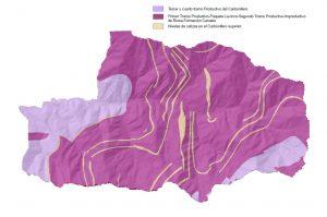 Mapa geológico de Mieres en el espacio protegido