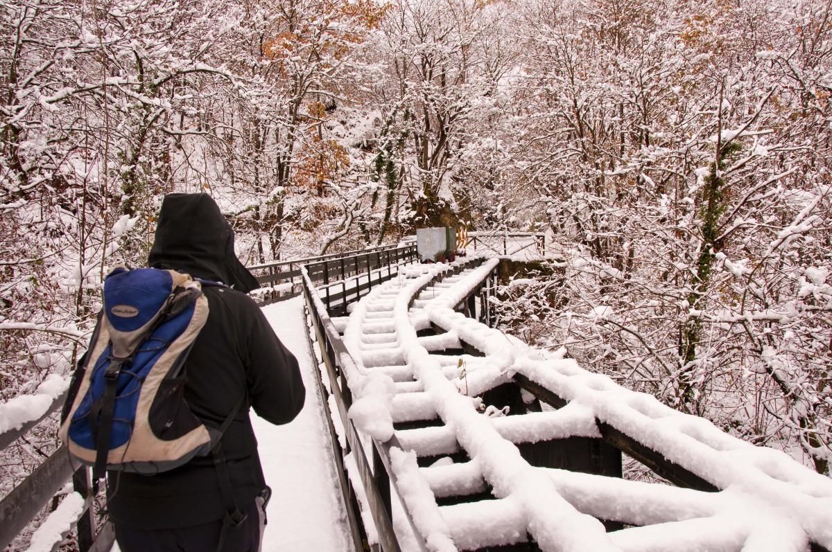 Puente Pomar nevado, senda verde deTurón (Fot.: José Luis Soto).
