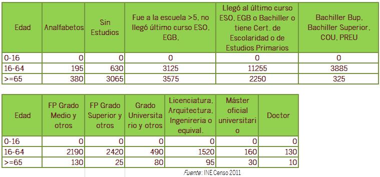 Tabla Tasa analfabetismo y demás estudios Censo 2011