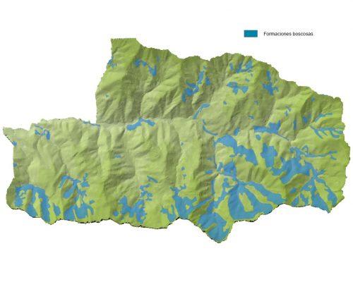 Zonas boscosas de Mieres en el Espacio Protegido de las Cuencas Mineras.