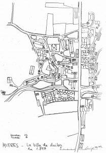Plano La Villa de Arriba 1894 (Fuente: Noticias históricas sobre Mieres y su concejo)