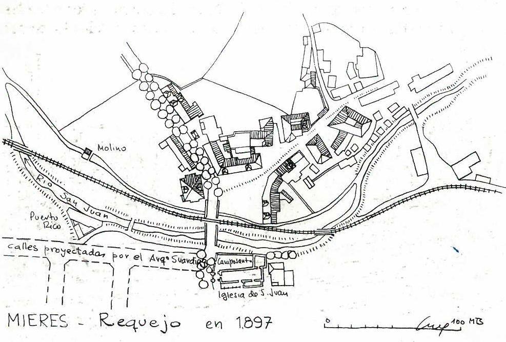 Plano de Requexu 1897 (Fuente: Noticias históricas sobre Mieres y su concejo)