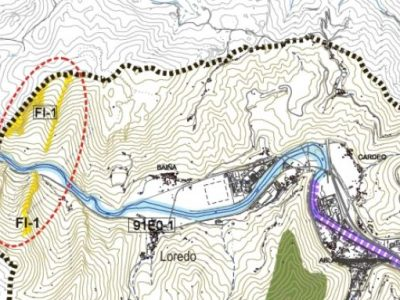 Situación de Cantiles calizos en la zona noroeste de Mieres