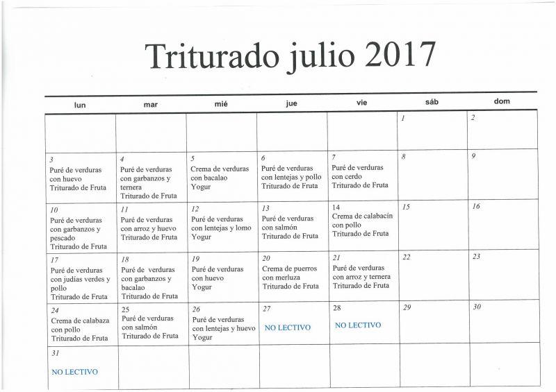 Menú Julio 2017 Triturado