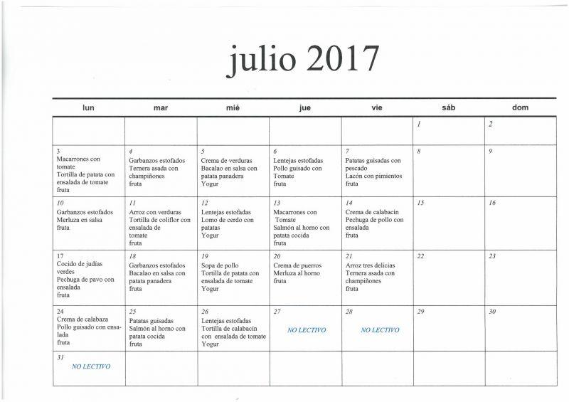 Menú Julio 2017