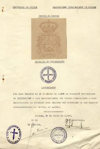 Documento envío de datos relativos al escudo y sello - Julio 1947