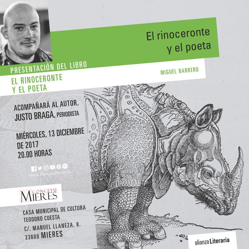 PRESENTACION  MIGUEL BARRERO RINOCERONTE POETA MIERES
