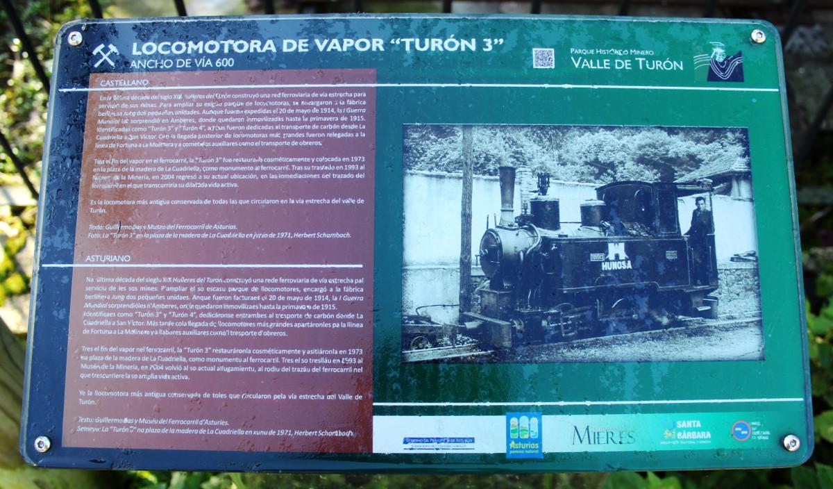 Panel informativo de la locomotora de vapor Turón3, La Cuadriella, Turón