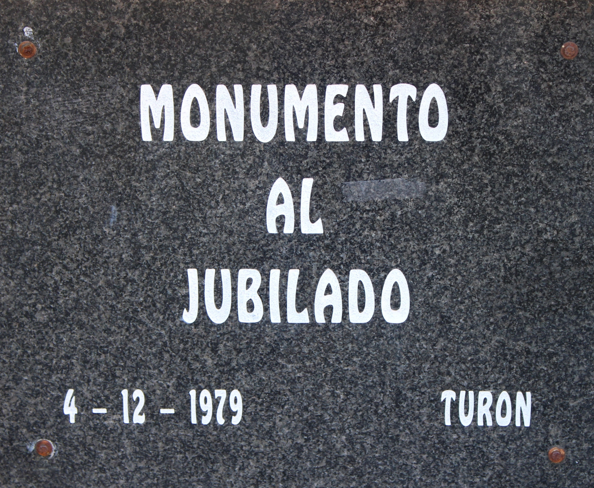 Placa delantera Monumento al Minero Jubilado