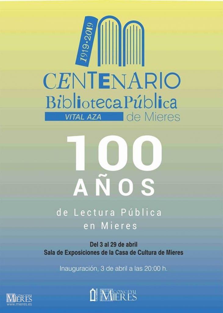 Cartel Web Exposicion Centenario Biblioteca Mieres