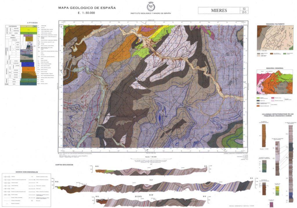 Mapa geológico de Mieres - Instituto Geológico y Minero de España IGME