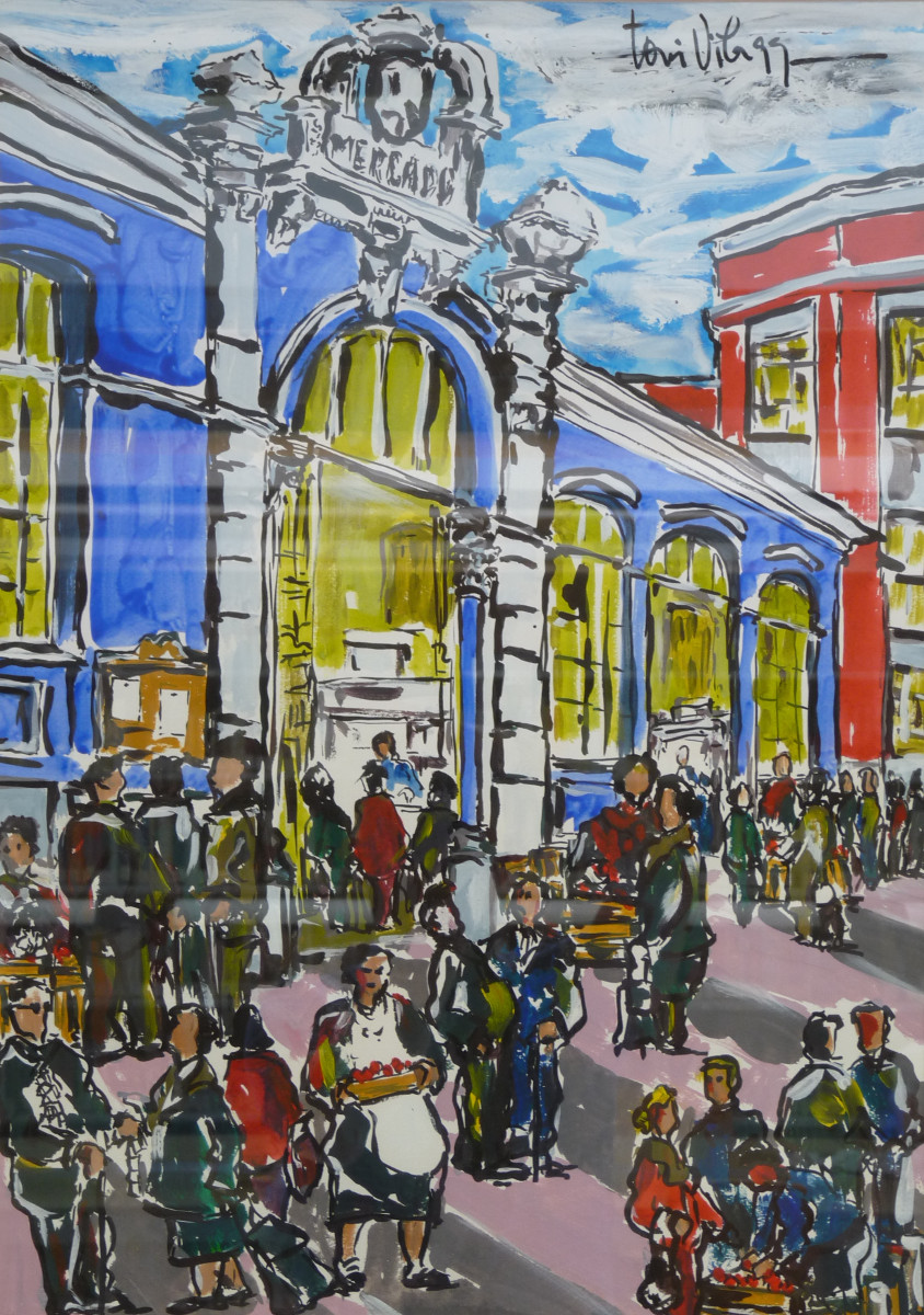 Plaza del Mercado de Mieres   Toni Vila (49cm x 68cm)