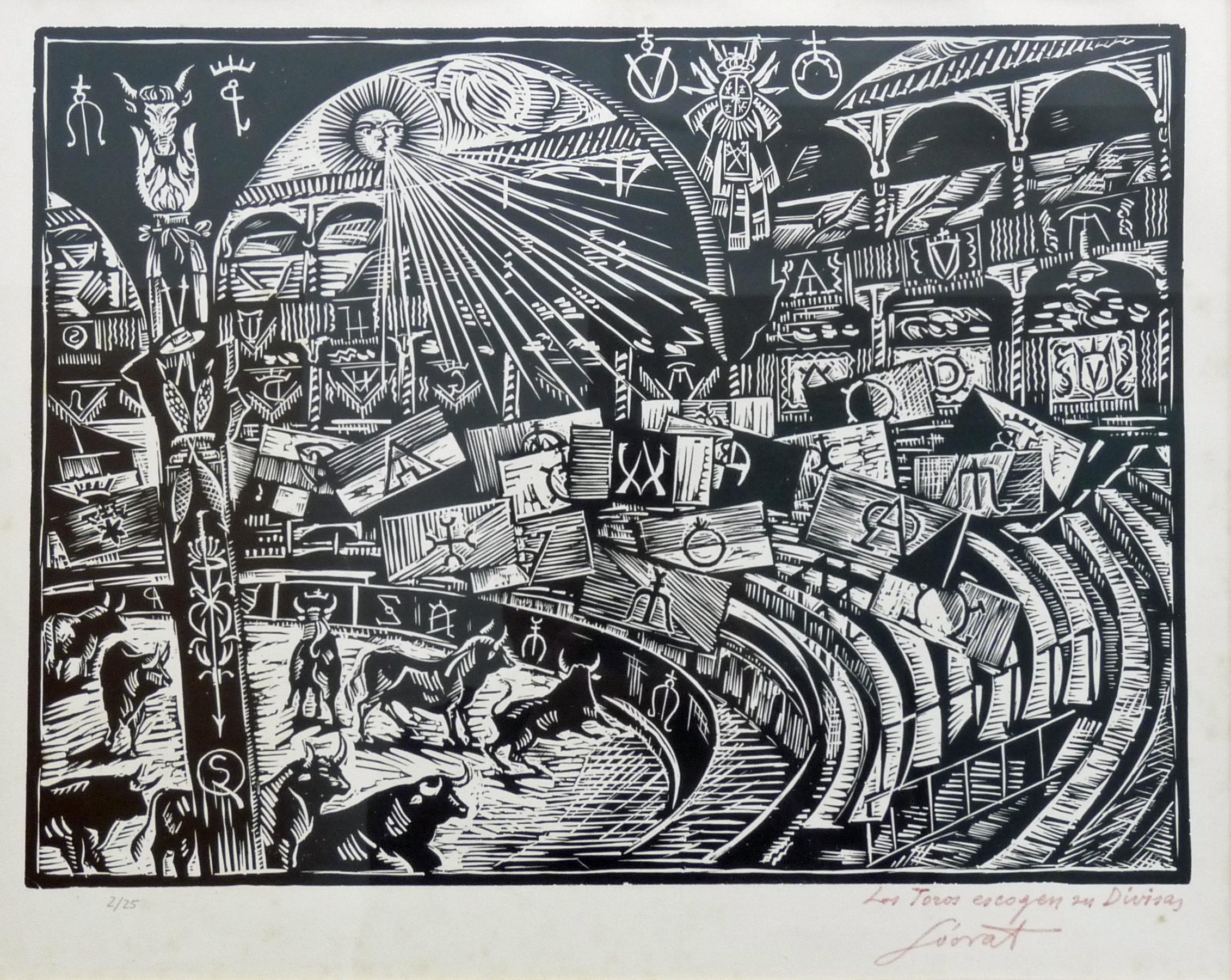 Los toros escogen sus divisas | Sócrates Quintana (Xilografía 0,50x0,40)