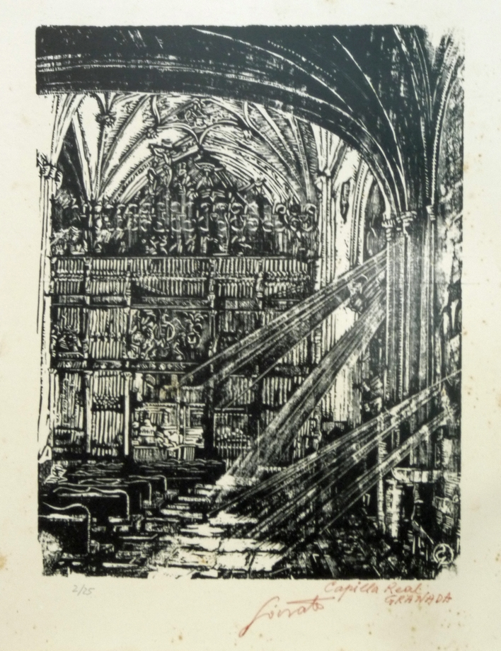Capilla Real Granada   Sócrates Quintana (Xilografía 0,33x0,40)