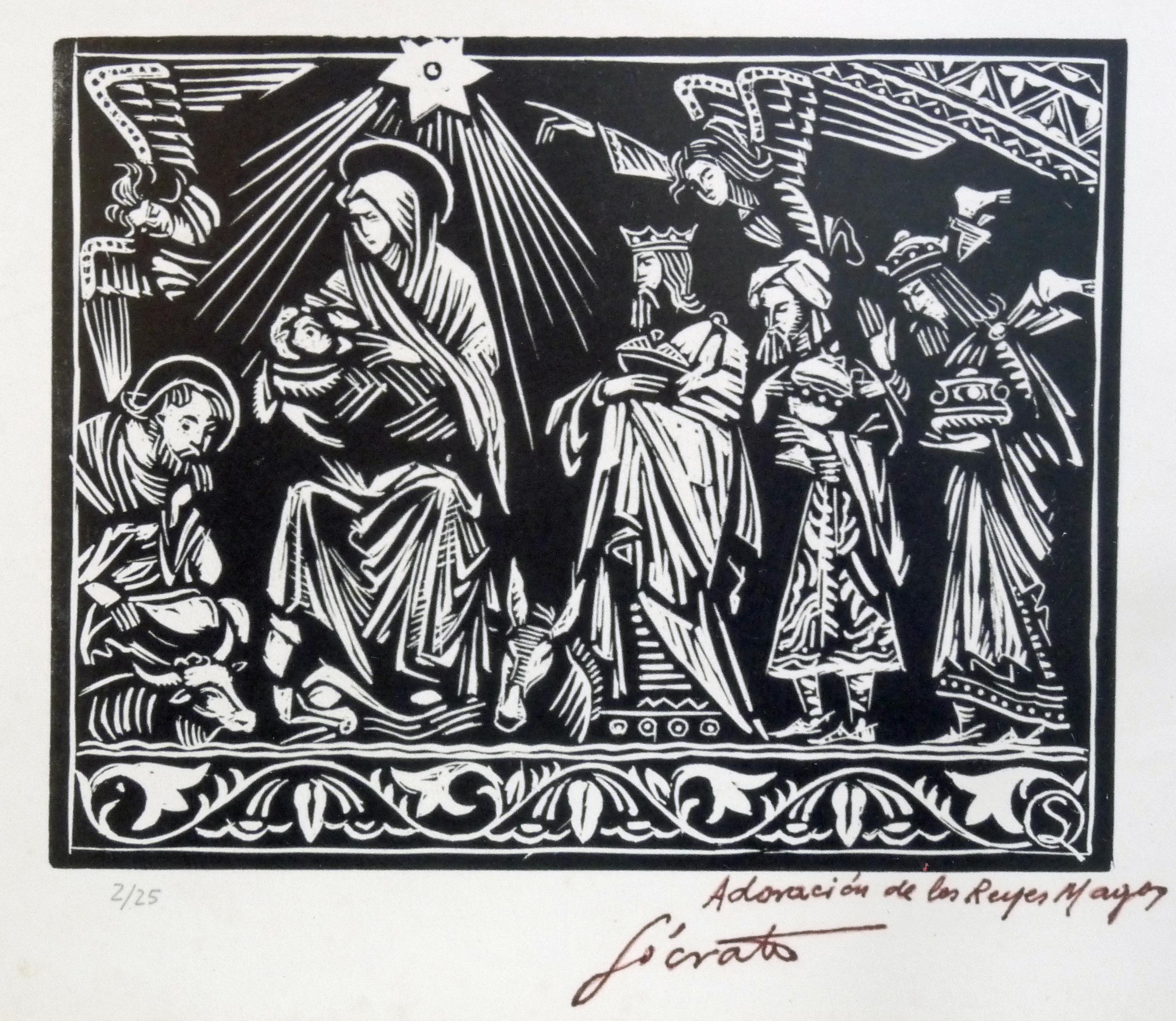Adoración de los Reyes Magos   Sócrates Quintana (Xilografía 0,32x0,26)