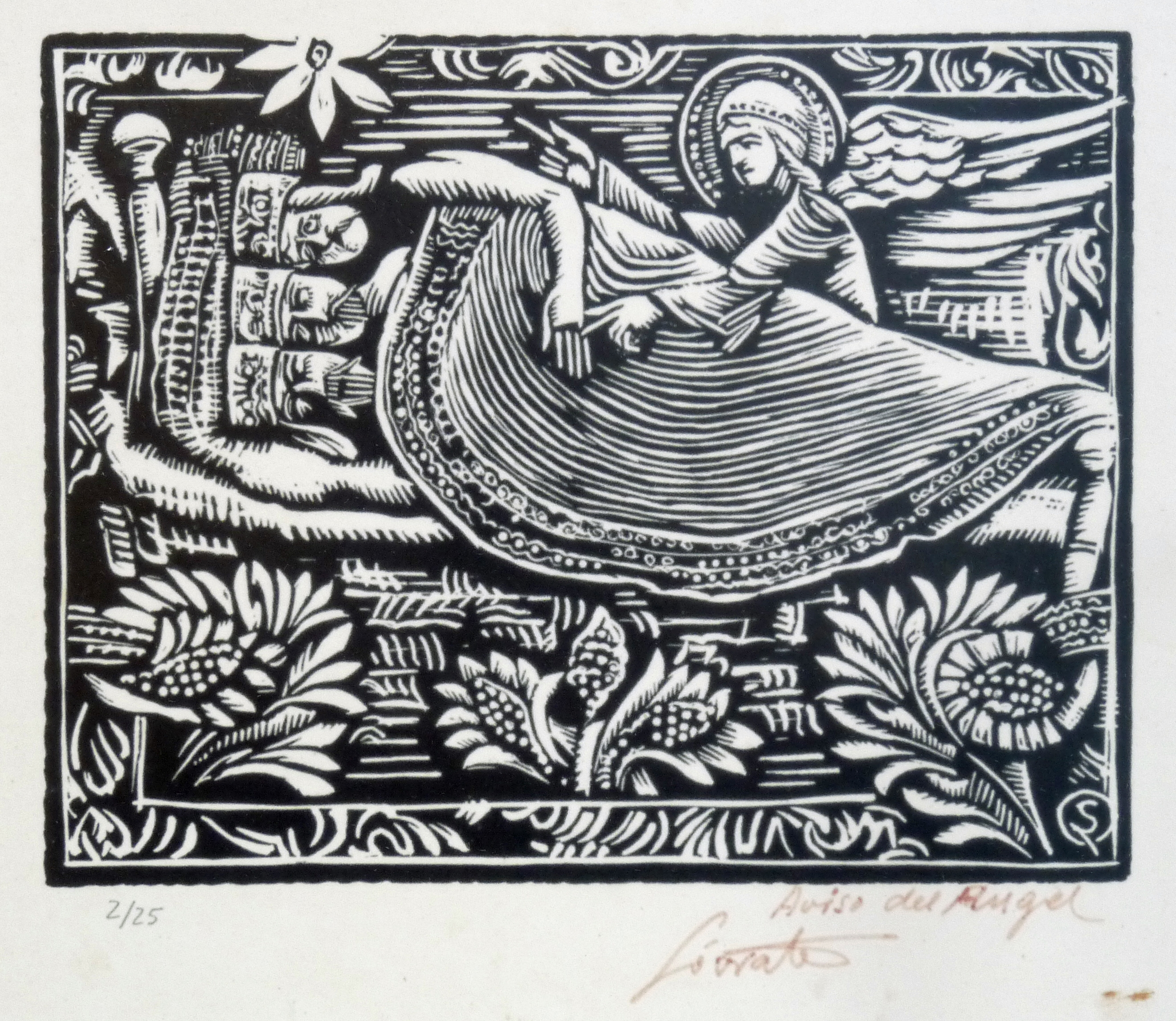 Aviso del Ángel | Sócrates Quintana (Xilografía 0,33x0,27)