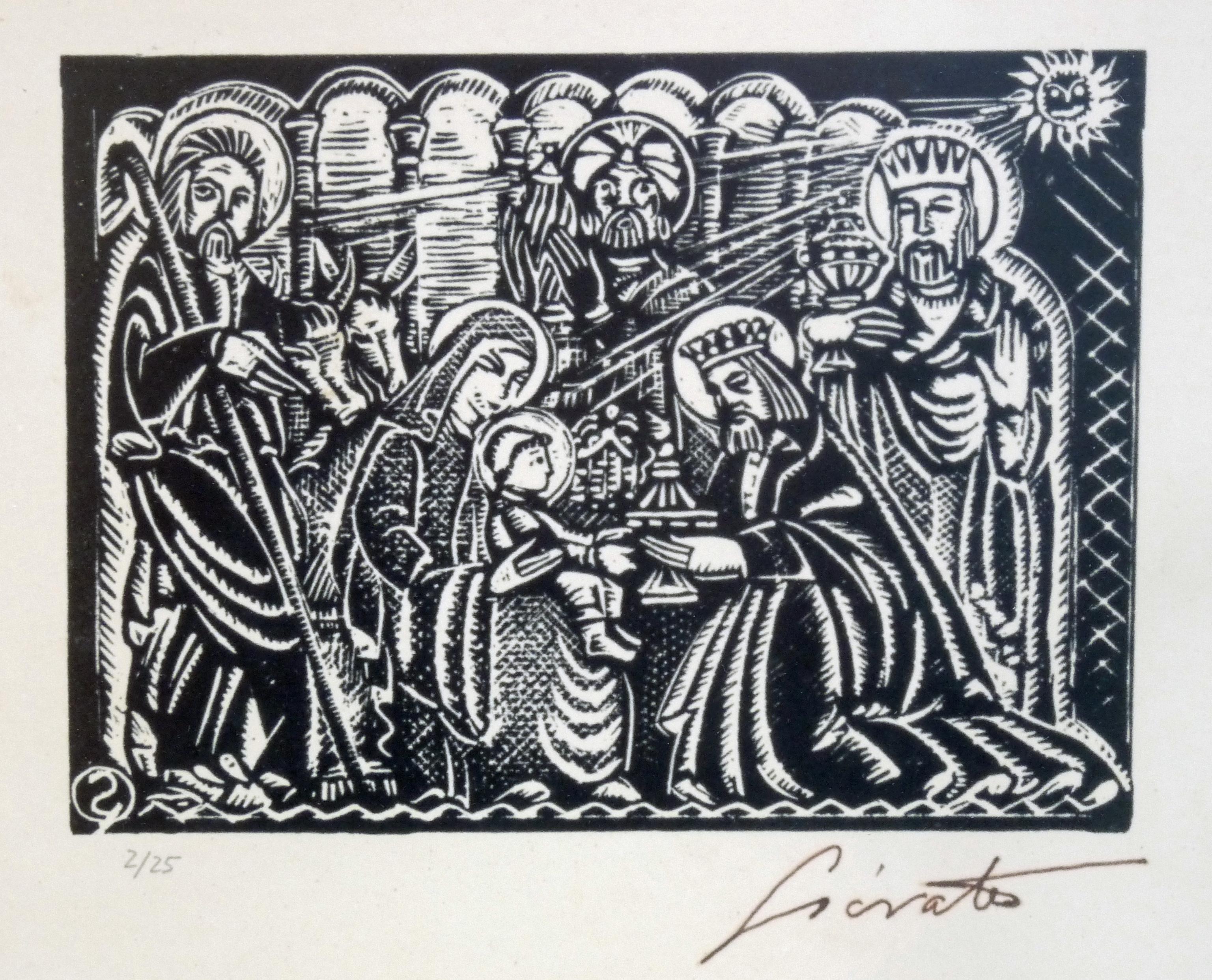 Adoración   Sócrates Quintana (Xilografía 0,33x0,27)