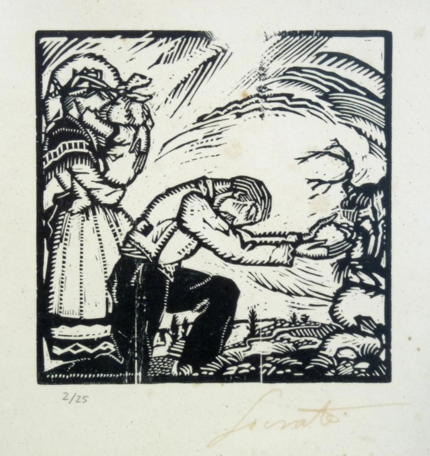Ofrenda   Sócrates Quintana (Xilografía 0,26x0,24)