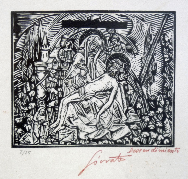 Descendimiento   Sócrates Quintana (Xilografía 0,27x0,24)