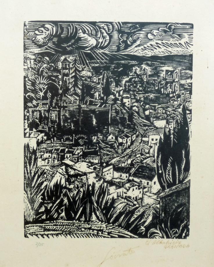 El Albarracín Granada   Sócrates Quintana (Xilografía 0,35x0,42)