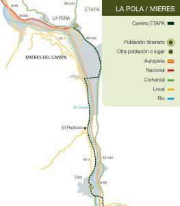 Recorrido del Camino de Santiago: La Pola L.lena-Mieres del Camín.
