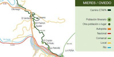Recorrido del Camino de Santiago Mieres-Oviedo por Mieres.