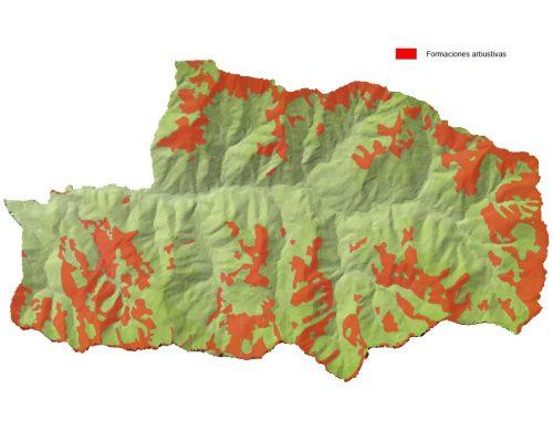 Zona de matorral de Mieres en el espacio protegido de Las Cuencas Mineras.