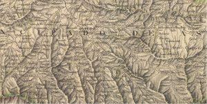 Mieres en un  mapa de 1837 (Fuente: IGN)