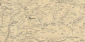 Mieres en un mapa de 1855 (Fuente: IGN)
